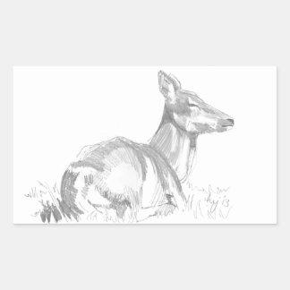 Dibujo de los ciervos pegatina rectangular