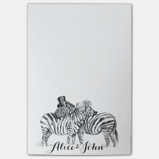 Dibujo de lujo de la tinta de las cebras del boda post-it nota