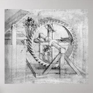 Dibujo de madera de los engranajes de Leonardo Poster