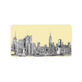 Dibujo de NYC en la marfil poner crema Etiqueta De Dirección