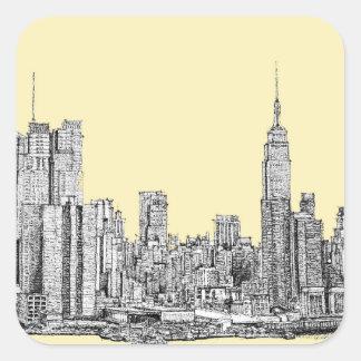 Dibujo de NYC en la marfil poner crema Pegatina Cuadrada