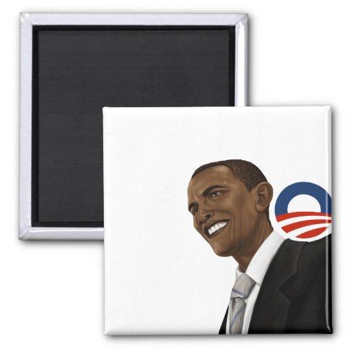 Dibujo de Obama con el logotipo de Obama Imanes Para Frigoríficos