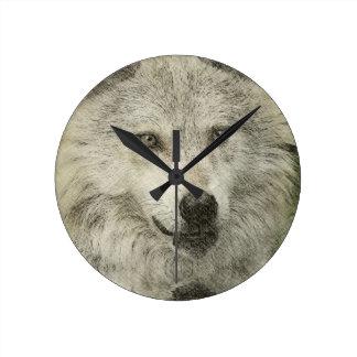 Dibujo de plata del ejemplo del lápiz del lobo reloj redondo mediano