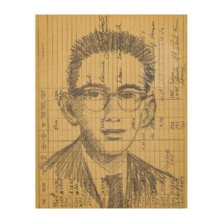 Dibujo de radio del retrato del grafito de la impresión en madera