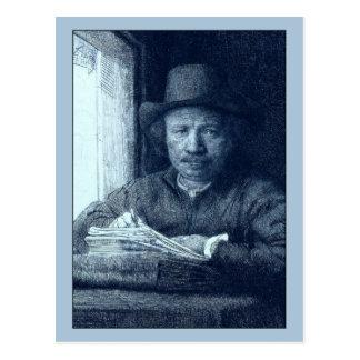 Dibujo de Rembrandt en una ventana Postales