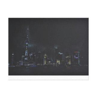 Dibujo de Shangai, horizonte chino Lona Estirada Galerías