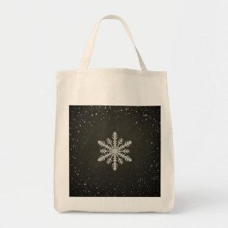 Dibujo de tiza blanco del copo de nieve del bolsa tela para la compra