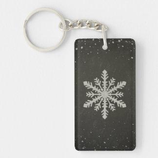 Dibujo de tiza blanco del copo de nieve del llavero rectangular acrílico a doble cara
