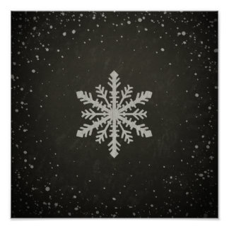 Dibujo de tiza blanco del copo de nieve del póster