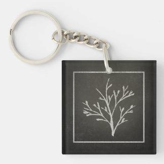 Dibujo de tiza de ramificación del árbol joven del llavero cuadrado acrílico a doble cara