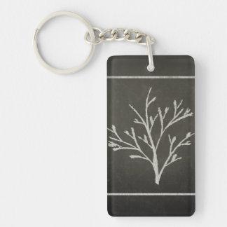 Dibujo de tiza de ramificación del árbol joven del llavero rectangular acrílico a doble cara