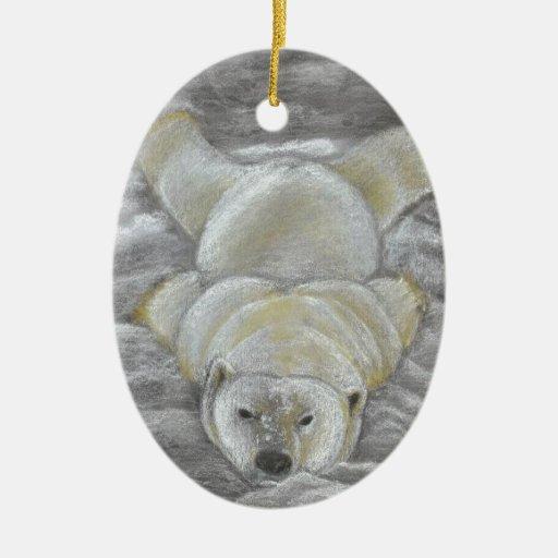 Dibujo de tiza del oso polar adorno ovalado de cerámica