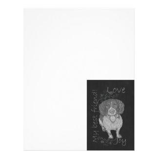 Dibujo de tiza lindo del perro de aguas feliz membrete a diseño