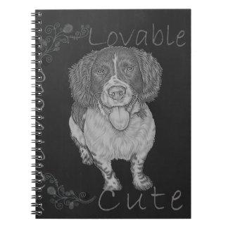 Dibujo de tiza lindo del perro de aguas feliz spiral notebook