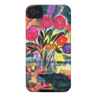Dibujo de un florero con las flores iPhone 4 Case-Mate fundas