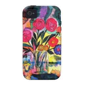 Dibujo de un florero con las flores Case-Mate iPhone 4 funda