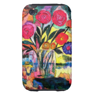 Dibujo de un florero con las flores tough iPhone 3 protectores