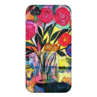 Dibujo de un florero con las flores iPhone 4 protector