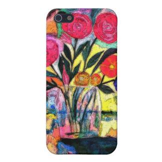 Dibujo de un florero con las flores iPhone 5 carcasas