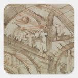 Dibujo de una prisión imaginaria calcomanías cuadradas