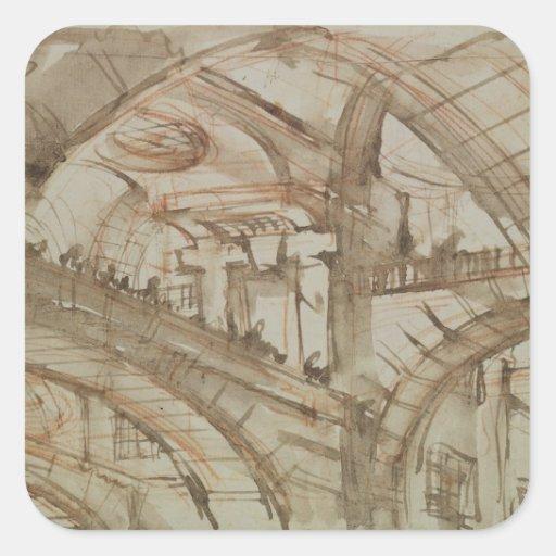 Dibujo de una prisión imaginaria pegatina cuadrada