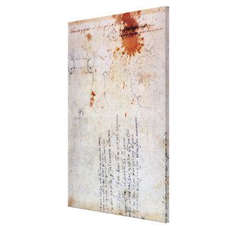 Dibujo de una urna y de una figura con las notas lona envuelta para galerías