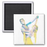 Dibujo de vals de los bailarines del salón de bail imán de frigorífico