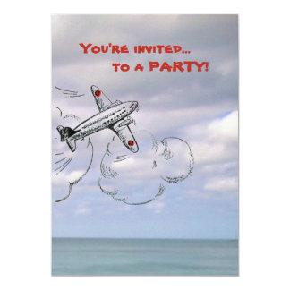 Dibujo del aeroplano del dibujo animado en las invitación 12,7 x 17,8 cm