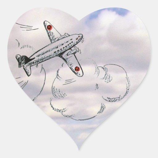 Dibujo del aeroplano del vintage en las nubes etiqueta