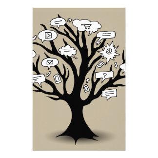 Dibujo del árbol de la comunicación personalized stationery