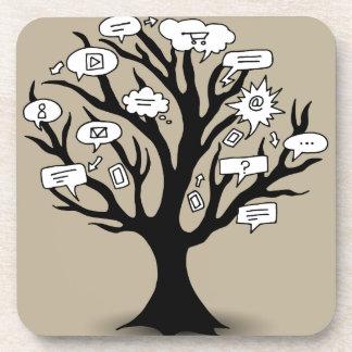 Dibujo del árbol de la comunicación posavasos de bebida