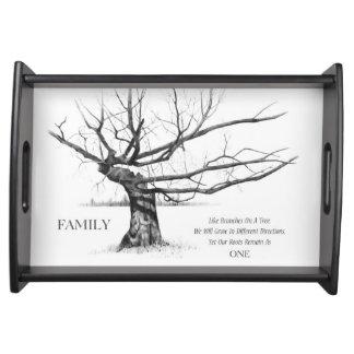 Dibujo del árbol Gnarled, cita de la FAMILIA Bandejas