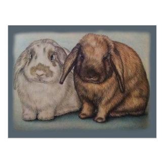 Dibujo del arte animal lindo de los conejos de tarjetas postales