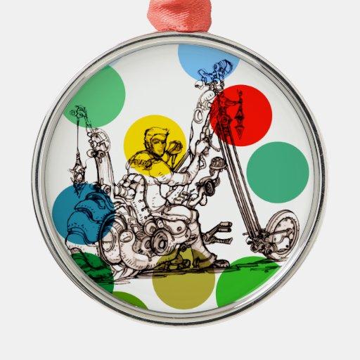 Dibujo del arte de la diversión de un hombre de la adorno navideño redondo de metal