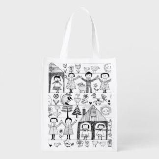 Dibujo del arte popular del niño de niños y de bolsas de la compra