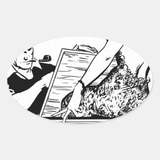 Dibujo del artista pegatina ovalada