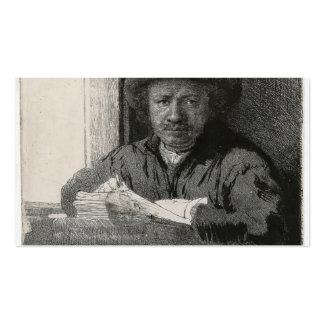 Dibujo del autorretrato de Rembrandt en una ventan Tarjeta De Visita