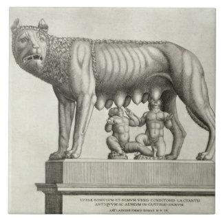 Dibujo del bronce de Etruscan del suc del ella-lob Azulejo Cuadrado Grande