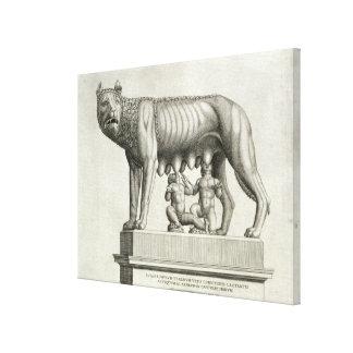 Dibujo del bronce de Etruscan del suc del ella-lob Impresión En Lona Estirada