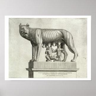 Dibujo del bronce de Etruscan del suc del ella-lob Impresiones