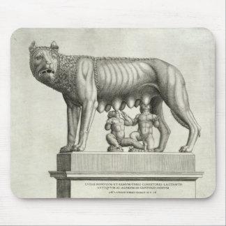 Dibujo del bronce de Etruscan del suc del ella-lob Alfombrilla De Raton