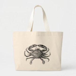 Dibujo del cangrejo del vintage bolsa tela grande