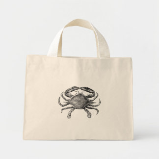 Dibujo del cangrejo del vintage bolsa tela pequeña