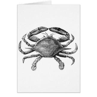 Dibujo del cangrejo del vintage tarjeta de felicitación