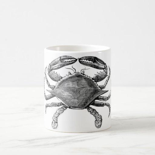 Dibujo del cangrejo del vintage tazas