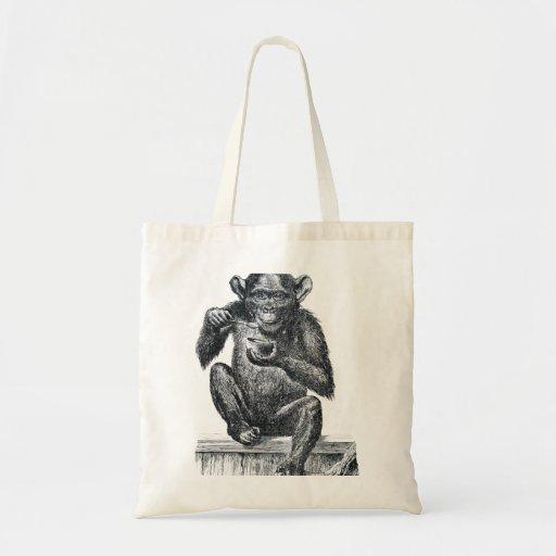 Dibujo del chimpancé del bebé del vintage bolsa de mano