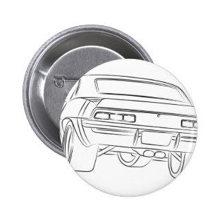 Dibujo del coche del músculo pin redondo de 2 pulgadas