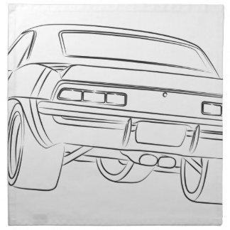 Dibujo del coche del músculo servilleta de papel