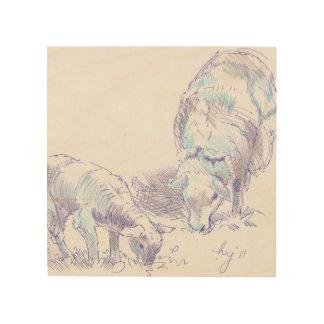 dibujo del cordero de las ovejas en la madera cuadro de madera
