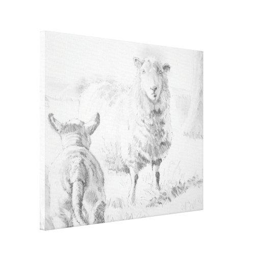 Dibujo del cordero de las ovejas impresión en tela